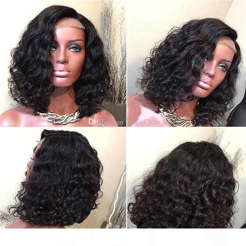 Encaje completo cabello humano peluca ondulada bob corto pre-arrancado cabello brasileño vello virgen 150% de densidad peluca frontal de encaje con pelo de bebé