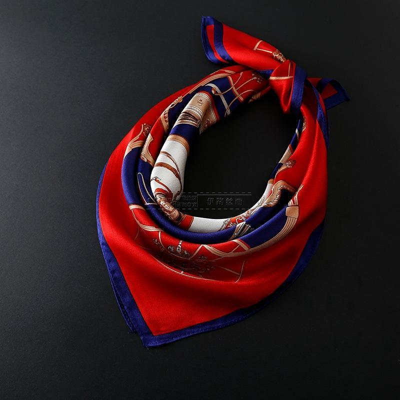 Scarves 100% Natural Silk Square 52*52 Cm Female Small Bandana Carriage Print Crepe Satin Plain Handkerchief Neck Band