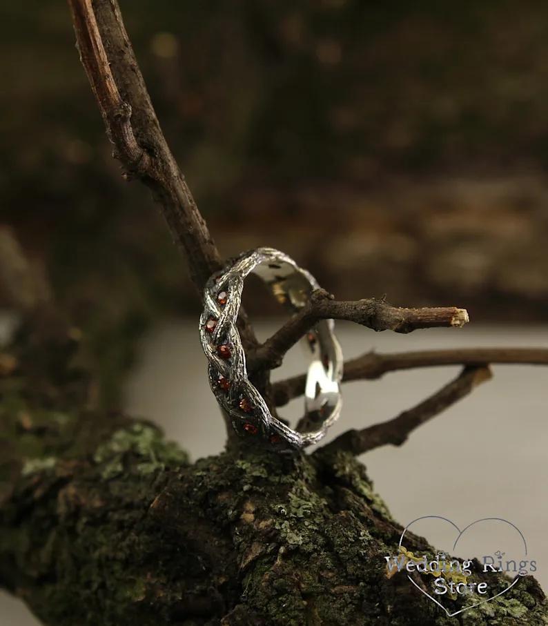 Новый классический винтажный красный горный хрусталь Inlaid Vine кольцо свадебные ювелирные изделия Мужские кольца для женщин, участие в целую продажу готические унисексМ99