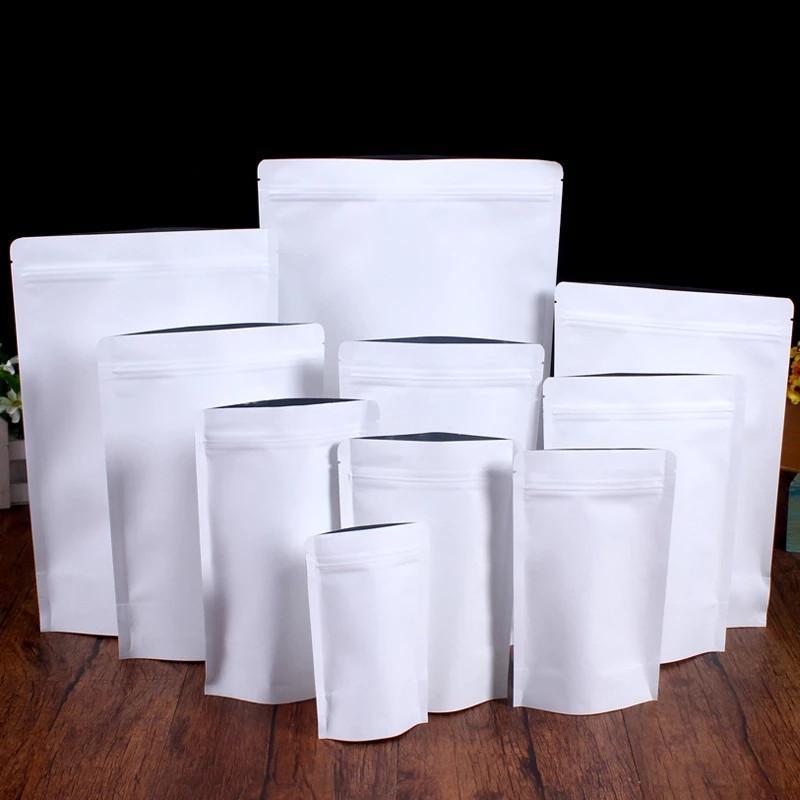Folha de alumínio do saco de papel branco do papel de Kraft levanta o saco reciclável do armazenamento da vedação para o petisco do chá