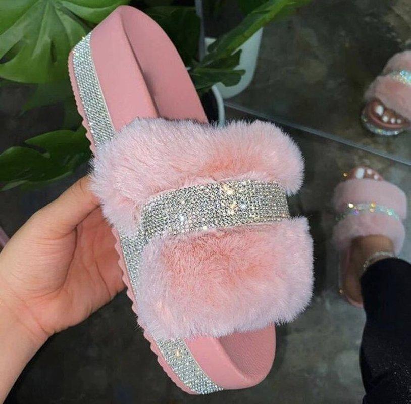2021 pantoufles femmes moelleuses automne hiver nouveau mode strass pantoufles en plein air foots tongs