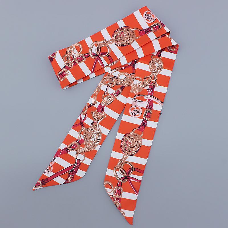 Dar Uzun Eşarp Moda Baskı Kolu Çanta Şeritler İşlevli Şerit Saç Kravat Scrunchies Başörtüsü Bandı 100x5 cm