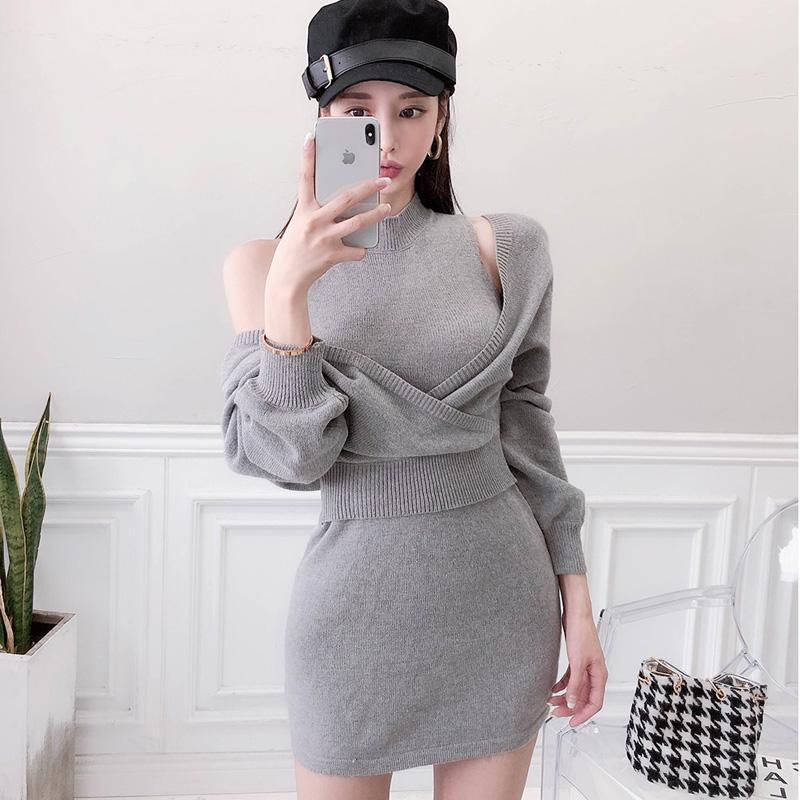 Повседневные платья эластичные два частя костюм вязание свитер для женщин зимний нерегулярный с длинным рукавом стенд стенд бодовон Vestidos