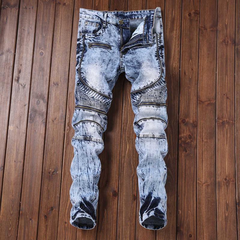 Border Denim European High Street Men Motorbikes Broek Spoiled Slender Elastic Feet Multi Rits Men's Jeans