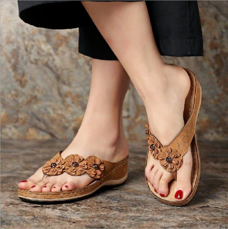 Sandals Summer Women Flower Wedge Casual Shoes Woman PU Leather Flip Flops Ladies Platform Slides Beach Female Sandalia