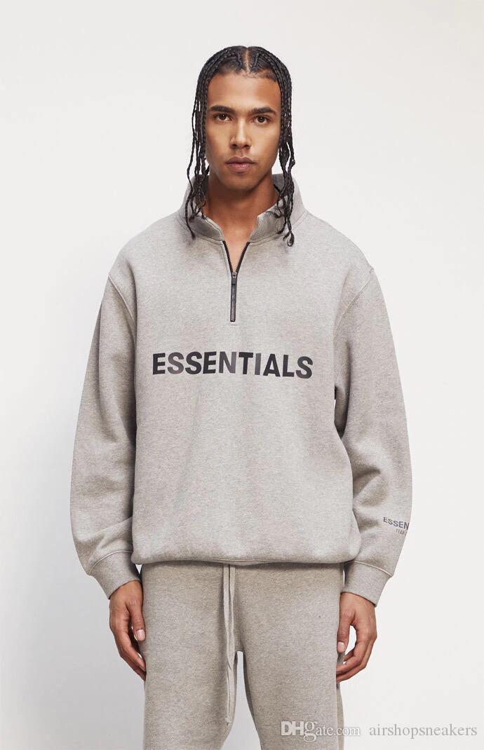 Nebel Essentials Männer Frauen Sweatshirts Halbe Zip Streetwear Pullover High Hals Lässige Übergroße Jumper Hip Hop Skateboards