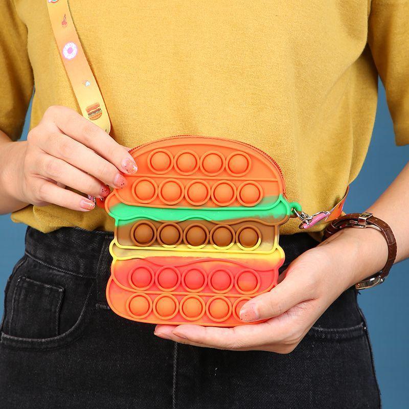 Fidget Toys Sensory hamburger color change shoulder bag Push Bubble Tie dye Anti Stress Educational Children Adults Decompression Toy Surprise wholesale xz01