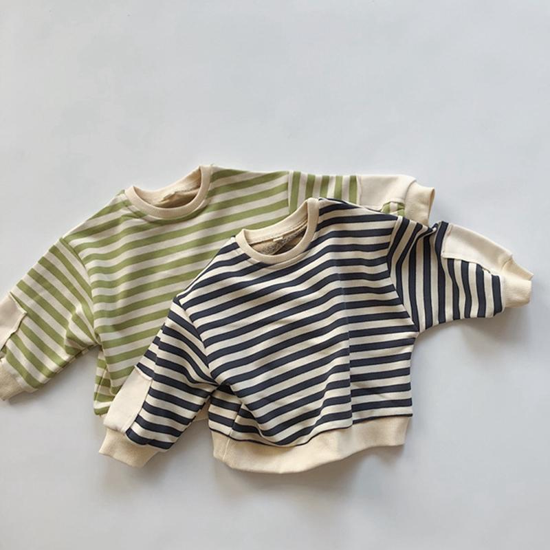 Nouveau 2020 automne hiver bébé garçons filles t-shirt bébé baby garçons filles bande manches longues épaissir pull haltours j0220
