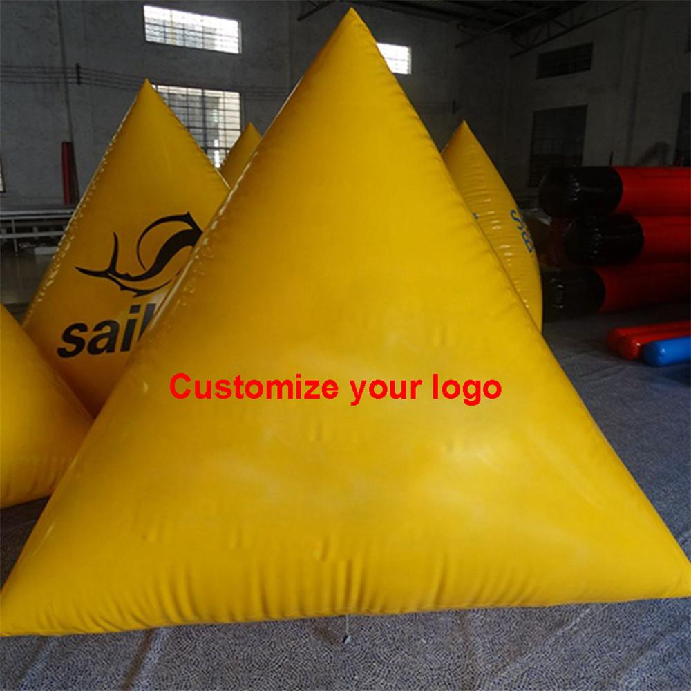 Customized Advertising buoys Inflatable floating race marker PVC water tube barrier triangle Triathlon sign ON DISCOUNT