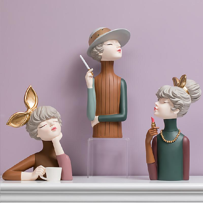 Moderna niña resina estatuillas artesanía casero sala de estar escritorio estatuas de hadas decoración oficina mesa ornamentos de moda regalos de cumpleaños C0220
