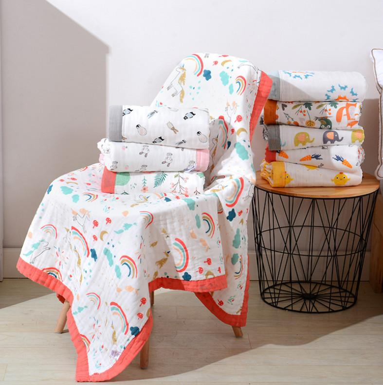 The latest 110X110CM size baby blanket, cotton six-layer gauze quilt patterns bath towel, supports customized logo