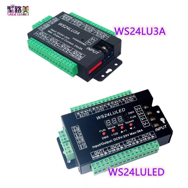 Controller WS24LU3A 24X3A WS24LULED DC5-24V 24CH DMX Controller 24 Kanal 512 Decoder RGB für LED-Streifenmodulleuchten