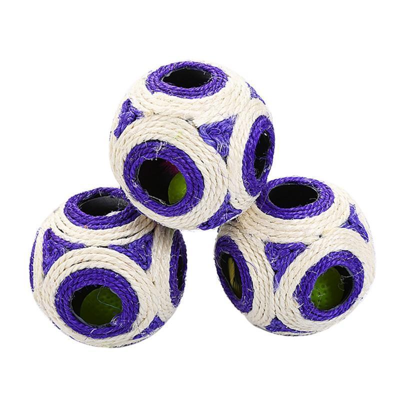 لعب القط الحيوانات الأليفة محبوك الكرة طحن الأسنان لعبة ستة ثقوب السيزال حبل التفاعلية مقاومة التآكل