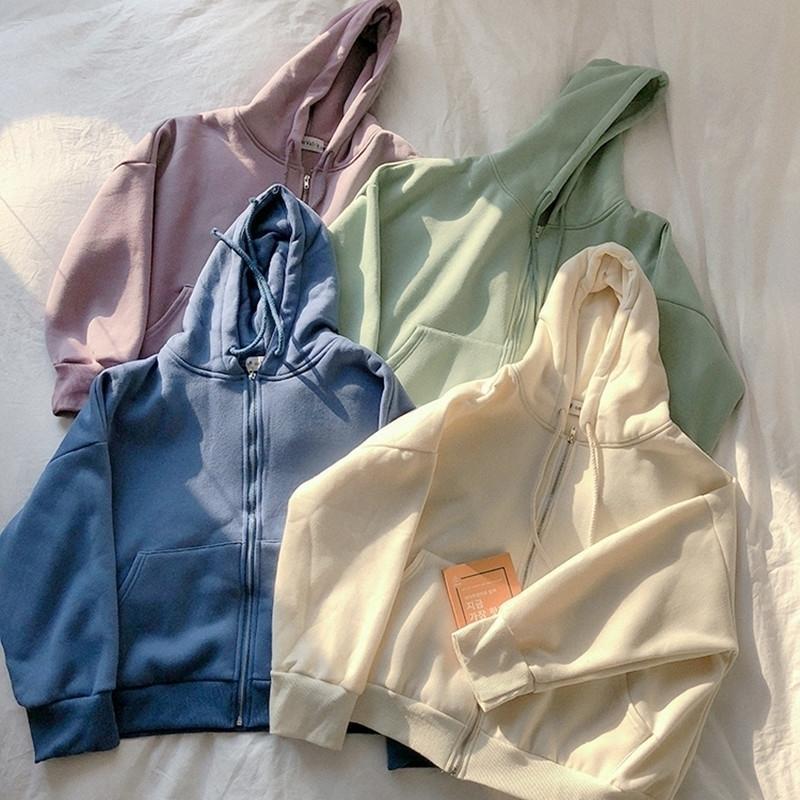 4 цвета мода женщины осень зима толстовка пальто теплые молния куртка повседневная одежда топы женские пальто женские (F3588) T200827