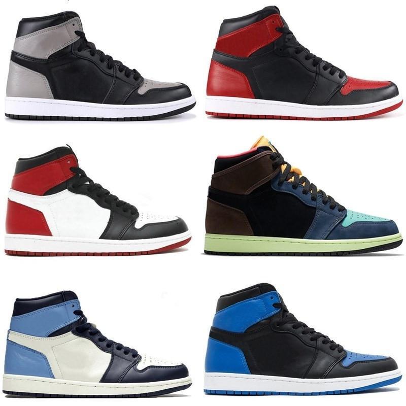 Новое прибытие Jumpman 1 1S высокий носок не перепродажа мужчин баскетбол обсидиана UNC черный белые мужские женские кроссовки обувь