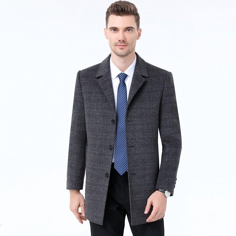 Шерстяная осень и новая середина длинного утолщенного двойного лица мужская зимнее пальто
