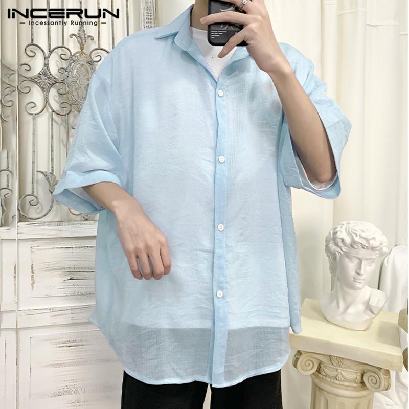 Мужские повседневные рубашки 2021 Мода Мужчины сетчатой рубашкой Смотреть сквозь воротник с коротким рукавом Sexy Blouse Streetwook Party Selet Mens 5xl Inceru