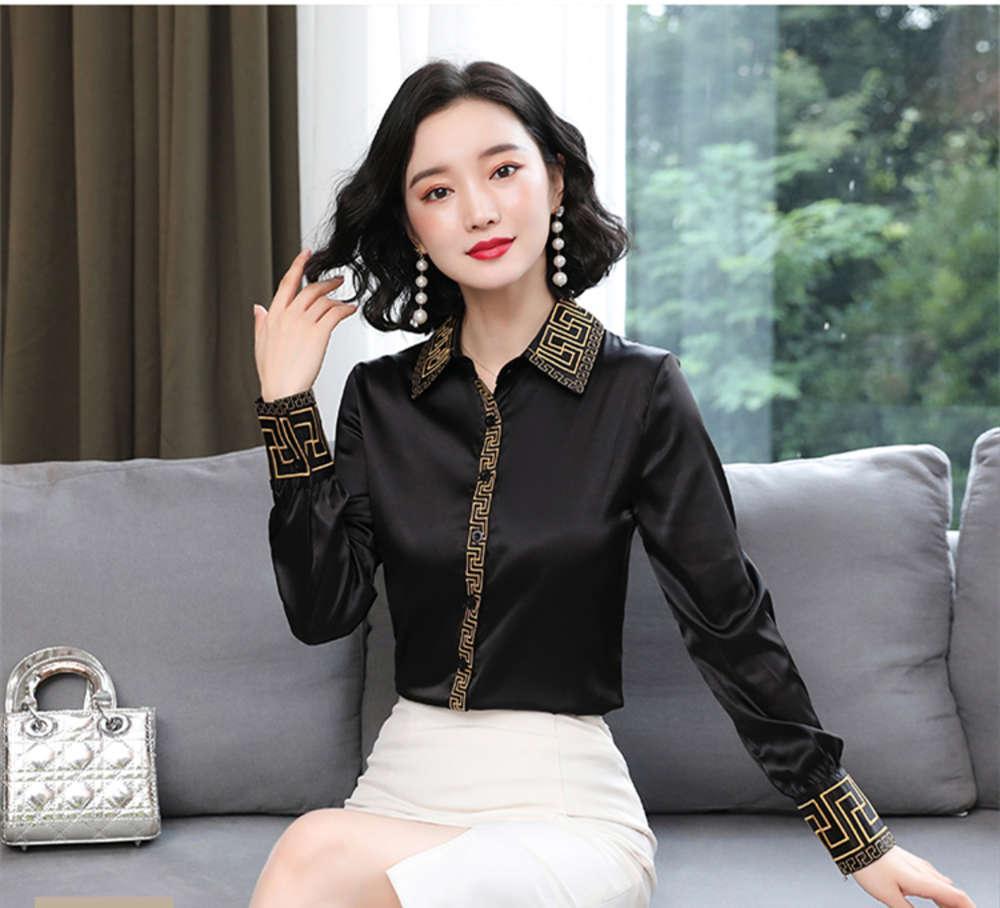2021 Luxury Vintage Embroidery Silks Shirt Long Sleeve Spring Autumn Winter Runway Designer Women's Black Tops Office Ladies Button Blouses