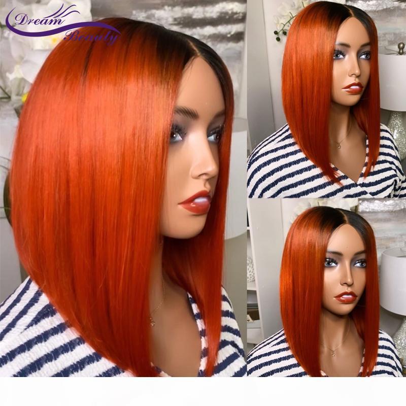 Оранжевый бразильский кружевной фронт человеческих волос парик 180% Оммре Оранжевый имбирь цвет прямые человеческие парики волос 13 * 4 короткие бобы
