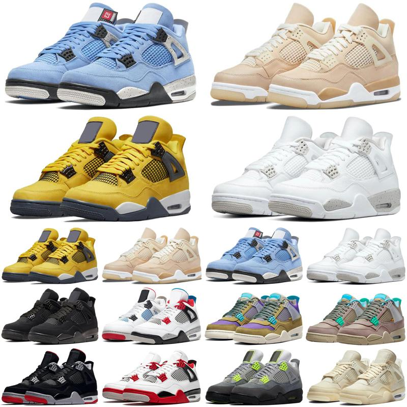 4 4S Mens Basketball Chaussures Shimmer Lightning Cactus Jack Red Thunder Sail Sail Université Blue Hommes Baskets Sports Sneakers Top
