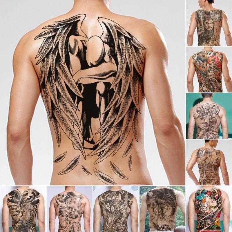 Hombres Tatuajes de Transferencia de Agua Etiqueta China DIOS Volver Tatuaje Impermeable Temporal Falso Tatuaje 48x34cm Tatuaje Flash para Hombre B3 C18122801