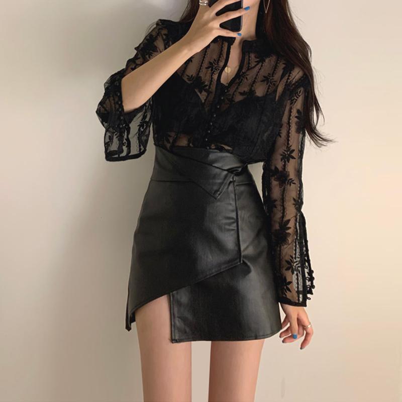 2021 осень новой высокой талии юбка для похудения PU узкая сексуальная черная нерегулярная маленькая кожаная юбка