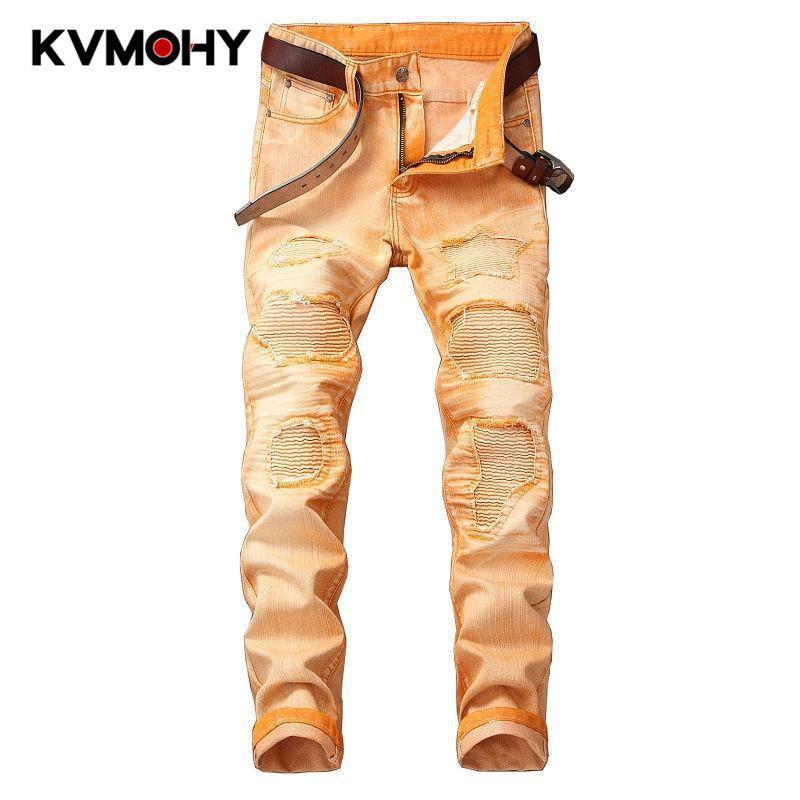 Jeans Menores Hip Hop Hombres Camuflaje Naranja Pantalones Masculinos Camo Fresco De La Moda Delgada Delgada Pantalones Denim Romen Pantalon Homme Jean