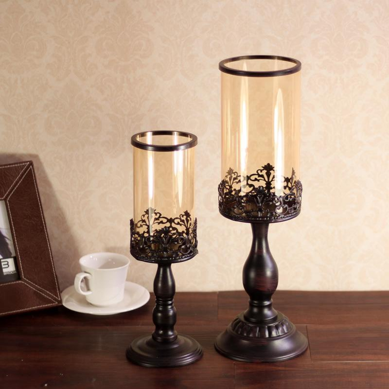Vidrio retro europeo vela vela candelabros de hierro artesanías ornamentos boda suministros de boda decoración del hogar