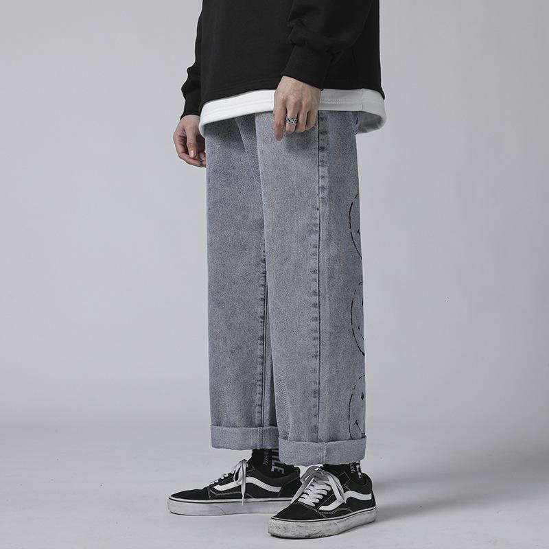 Erkek Vintage Moda Yıkanmış Kot Hip Hop Gülümseme Yüz Baskılı Gevşek Fit Denim Pantolon Harajuku Kentsel Stil Baba Jean Pantolon 0U8F