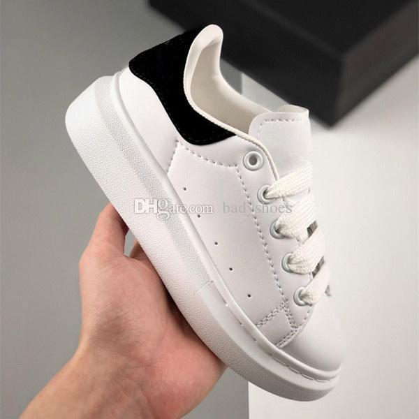 Klasik Platformu Çocuk Erkek Kız Koşu Ayakkabıları Beyaz Siyah Deri Çocuk Bebek Bebek Açık Yürüyor Trainer Spor Tasarımcı Sneakers