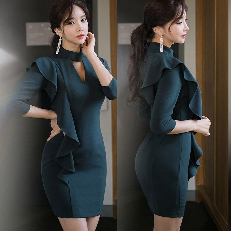 Robes décontractées 2021 Coréen Dames Température Self-Culture Collier Stand-up Collier à volants Hip Hip Hip Robe à manches à trois quarts