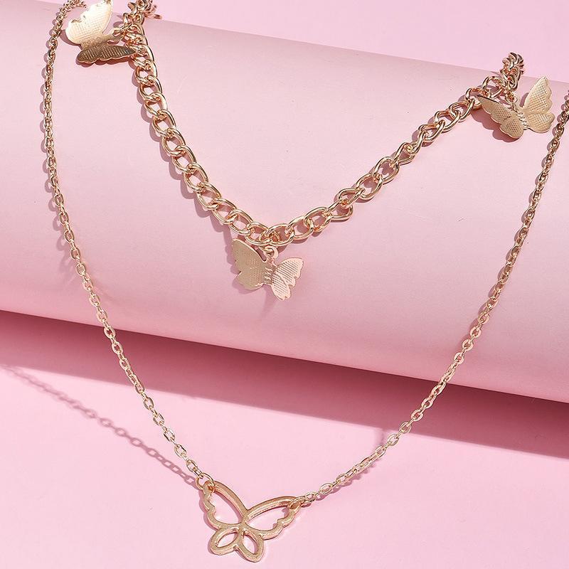 1 pcs Y2K Butterfly Metal Multi couche Épaisse Chaîne épaisse Collier Golg pour Femmes Party Bijoux Cadeau Chram Collier