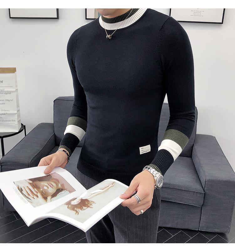 Kore Kazak Erkekler Yarım Balıkçı Yaka Erkek Kazak Sonbahar Kış Rahat Slim Fit Kazaklar Üstleri Erkek Uzun Kollu Örme CLO H9YC