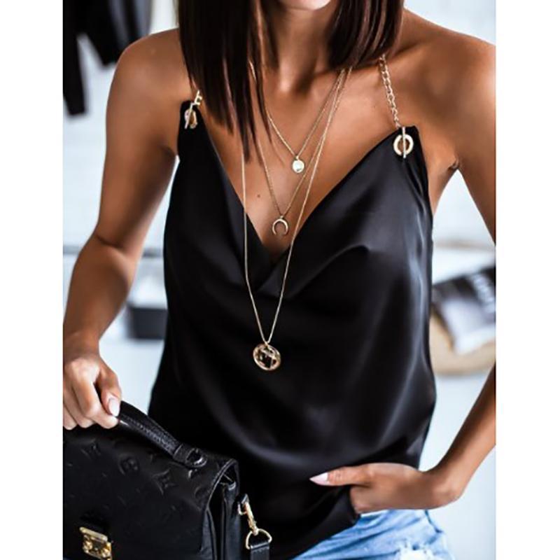 Kadın Üst Moda Saf Renk Seksi Mizaç Halter Asılı Boyun Sling Üst Mizaç Sıcak Olgun Yaz Kadın Stil Bluz 2021