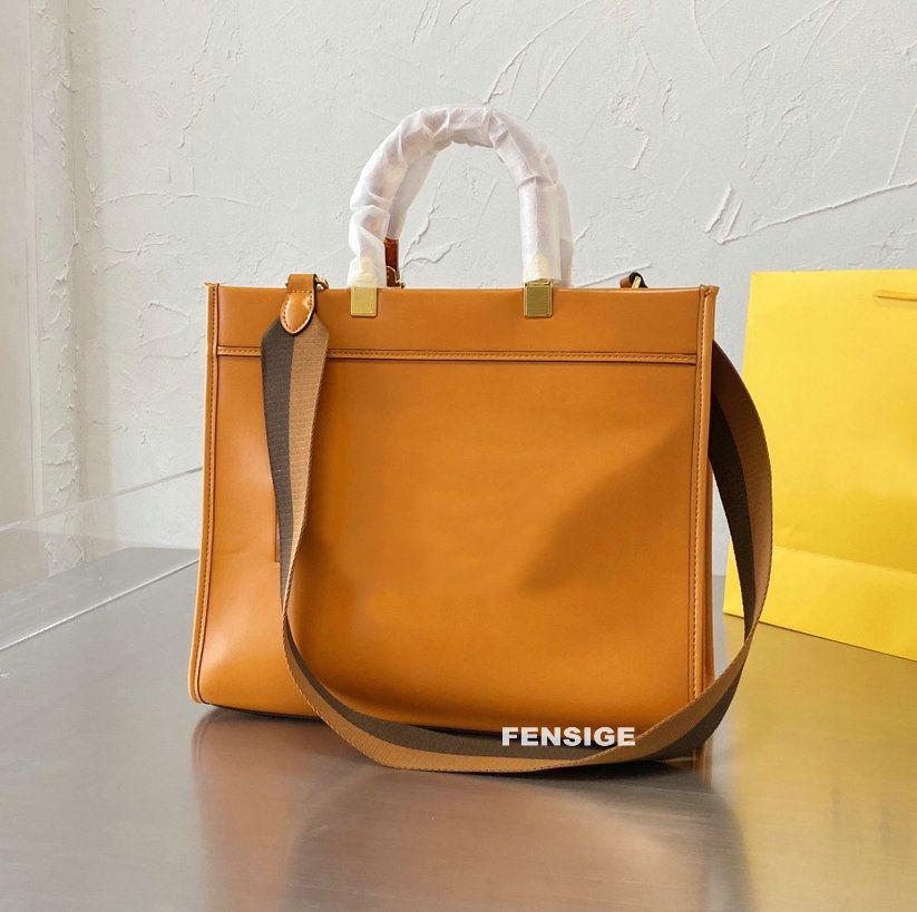 Designer Doppelgriffe Einkaufstasche Sonnenschein Shopper Roma Frauen Leder Taschen Orange Einkaufstasche Totes Handtaschen Crossbody Damen Geldbörse