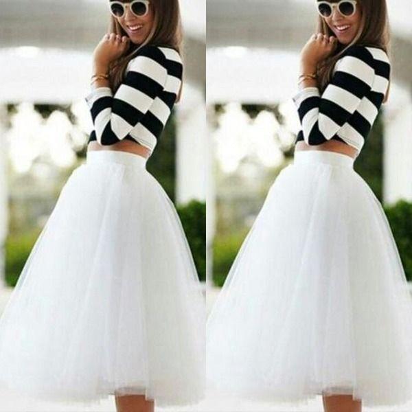 Diz Boyu Beyaz Tül Tutu Etekler Yetişkinler Için Custom Made A-Line Ucuz Parti Balo Petticoat Destek Kadın Giyim Ucuz