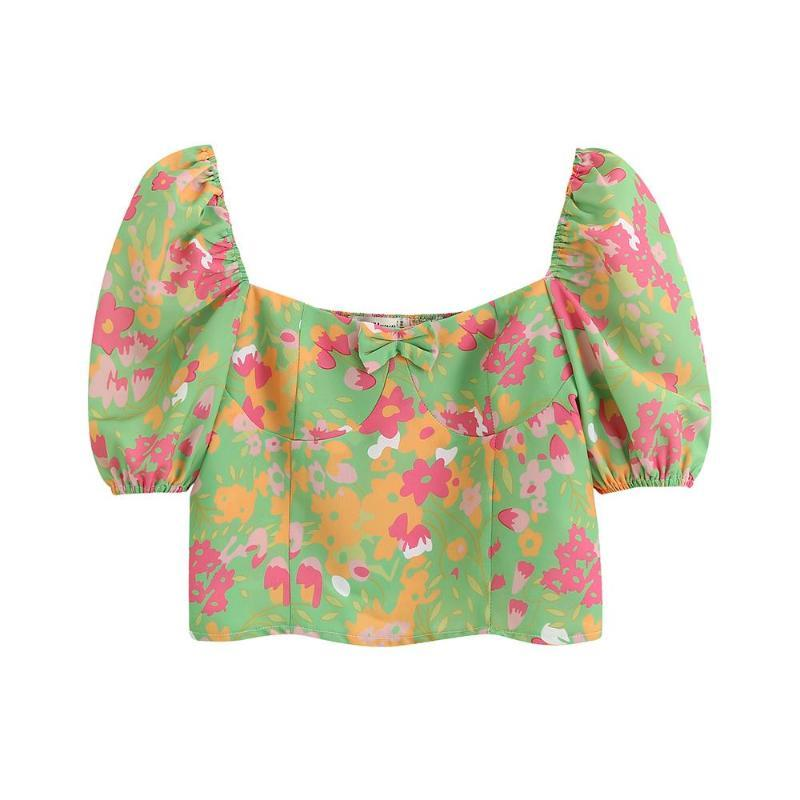 Рубашки женские блузки 2021 летние французские сломанные кружева одно плечо с короткими рукавами романтический стиль был тонкой дикой рубашкой