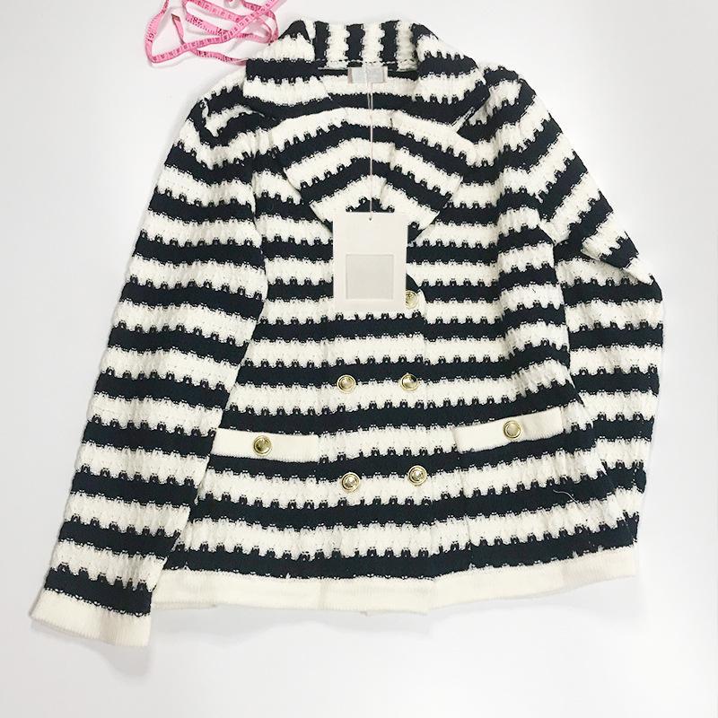 2021 Stile di Milano Stile Primavera Estate Brand Same Style Maglione Bianco Cardigan a strisce Stampa normale Manica lunga Donne Vestiti Xue