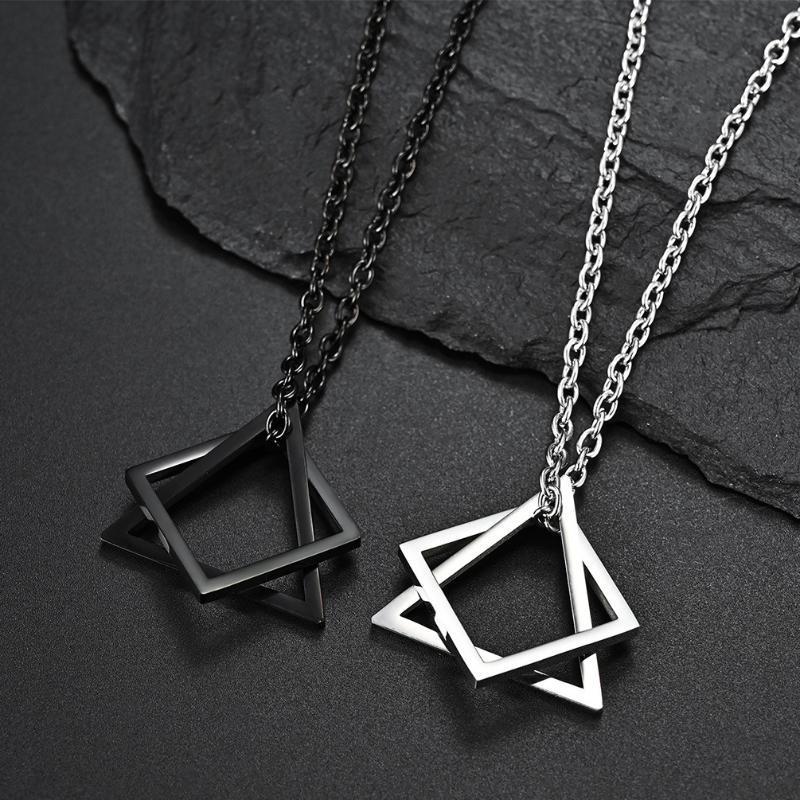 Collares colgantes Triángulo cuadrado Collar de enclavamiento geométrico para hombres Mujeres de acero inoxidable Hipster Hip Hop Jewelry