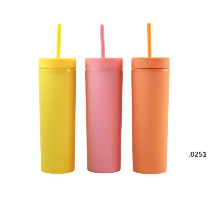16oz Acrylic Skinny Tumblers Matte Colors Double Wall Water Bottle Coffee Drinking Plastic Tumbler Sippy Cup With Free Straws FWA3700