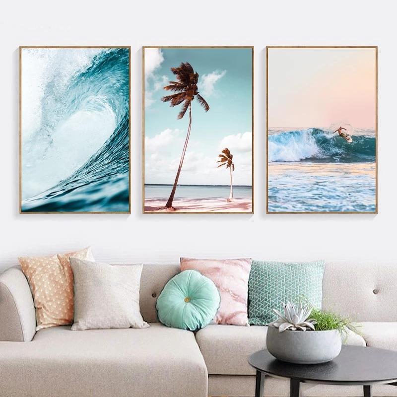 Pinturas nórdica mar del estilo de Surf Poster e imprimir Olas Marina lienzo de pintura de Palm Beach Art cuadros de la pared para sala de estar Decoración