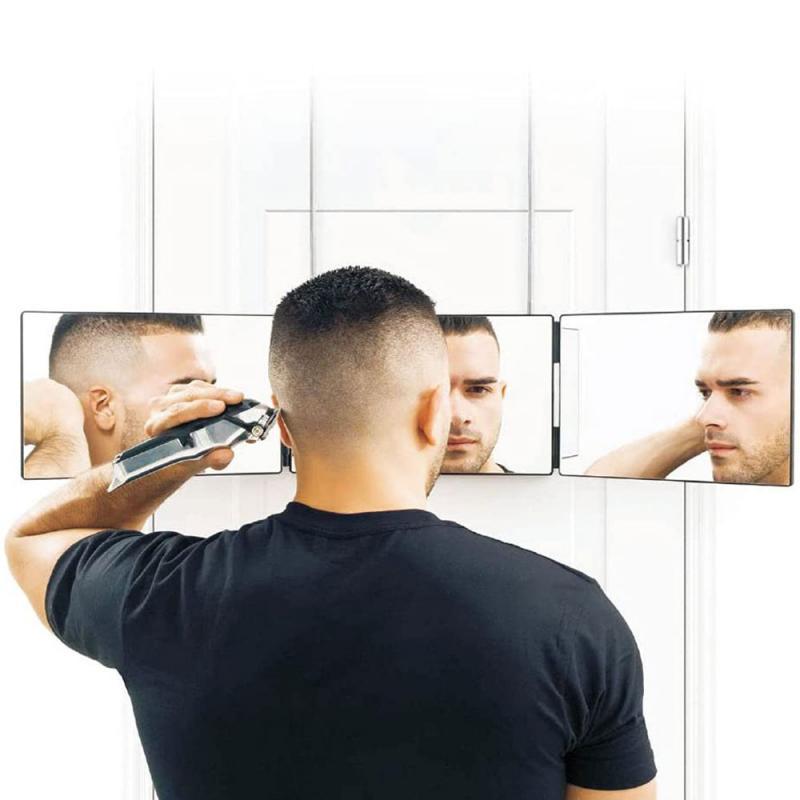 المرايا المحمولة مرآة ماكياج قابل للسحب شنقا ثلاثة من جانب قابلة للطي لقطع الشعر والتصميم diy أداة حلاقة
