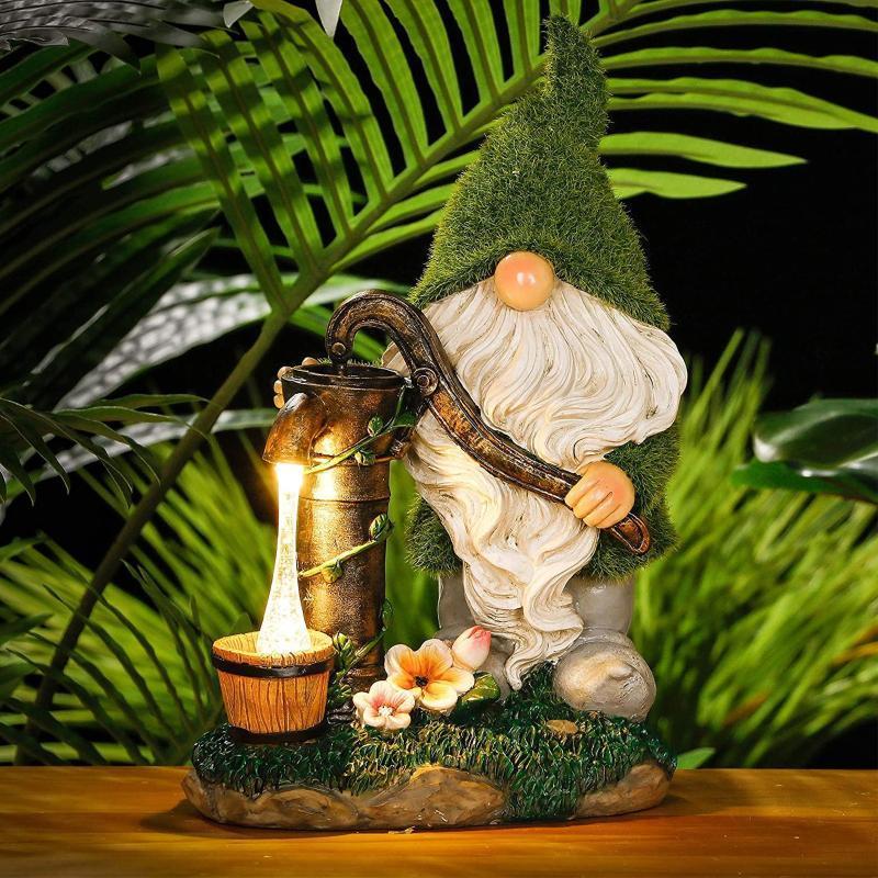 Solarlampen Outdoor Garten Ornamente Harz Zwerg Konfuzianer Statue Yard Decor vorhandene Dekoration Zubehör