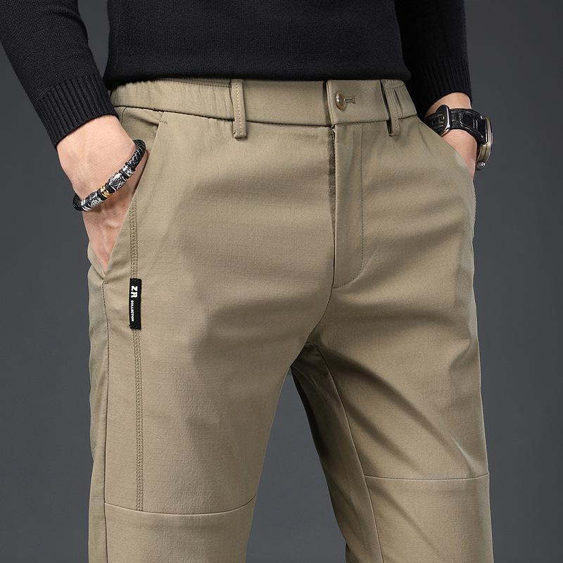 Calças masculinas Primavera Slim Casual Homens Algodão Fit Chinos Moda Skacny Khaki Calças Masculino Marca Roupas tamanho 28-38