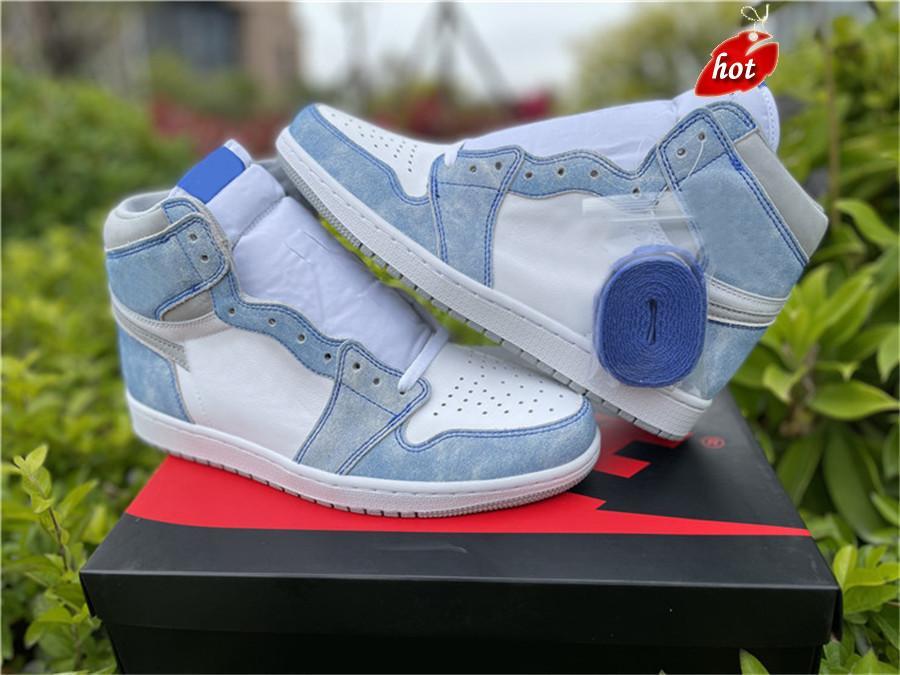 Shoes Release 1 High OG Hyper Royal Men Women Footwear Light Smoke Grey White Trainers Sports Original US 5-13