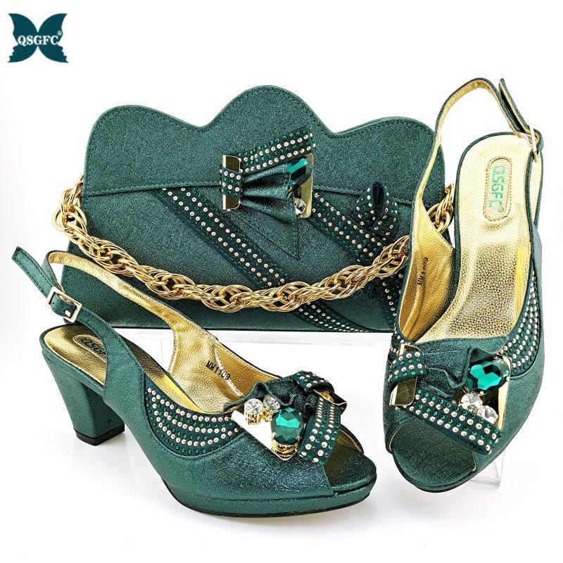 Nigeriano 2021 nova chegada design italiano cristal e metal decoração estilo festa senhoras sapatos e saco definido em cor d.green