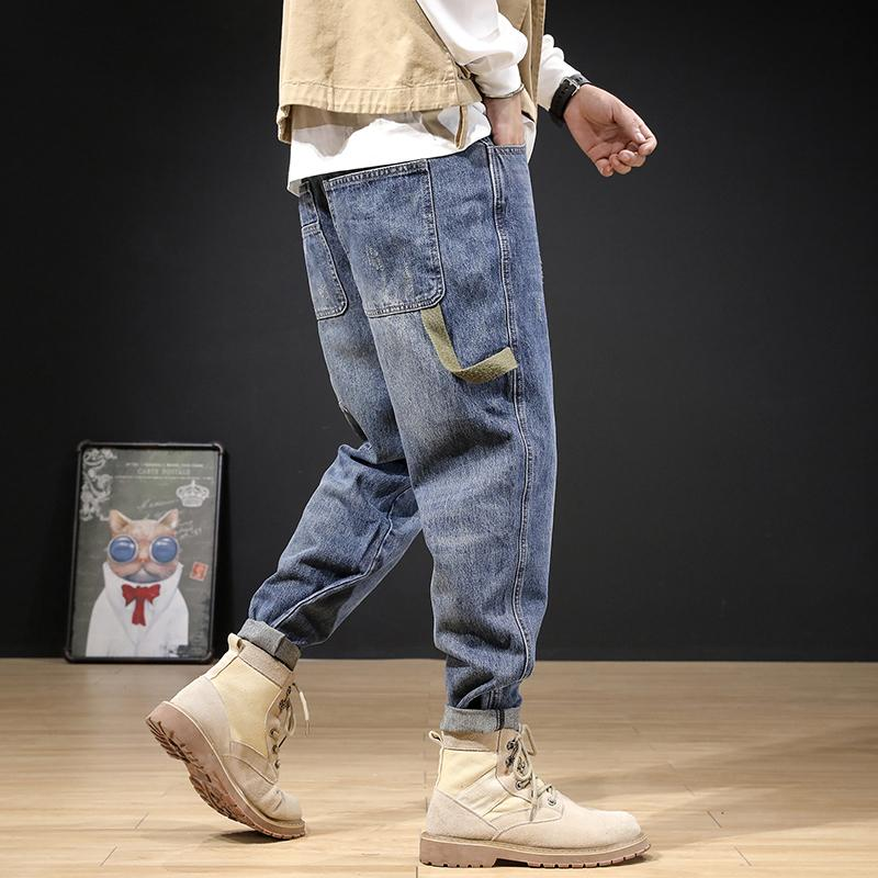 2021 Neue neu Designer Mode Männer Jeans Retro blau Große Tasche Casual Denim Fracht Hosen Streetwear Hip Hop Wide Bein Baggy Harem ROUSE NYYH
