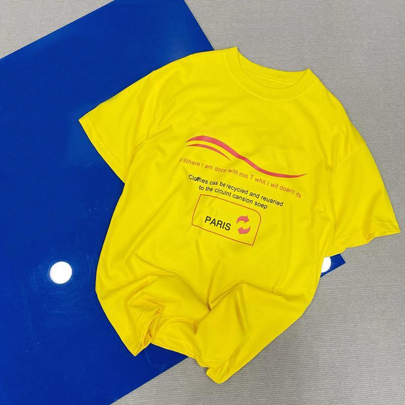 Moda Nuovo Arrivo Mens T Shirt Uomo Uomini di alta qualità Lettera Stampa manica corta Coppie gialle Collo girocollo Tees Polo Size XS-L