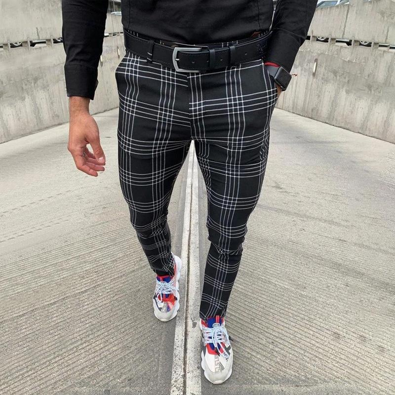 Rahat Erkek Pantolon Streetwear Erkekler Joggers Slim Fit Hip Hop Moda Ekose Pantolon Erkek Sıska Sweatpants Track