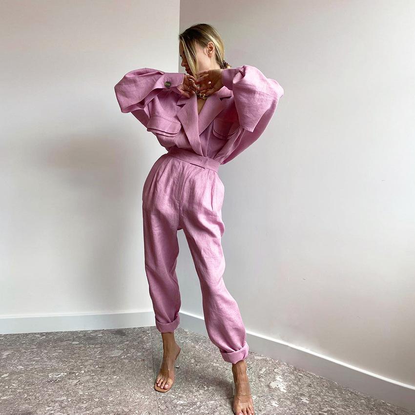 Keten Takım Elbise Zarif 2021 Sonbahar Kış Kadın Suits Yüksek Sokak Moda Kemer Kadın Ofis Lady Uzun Sleev Voku